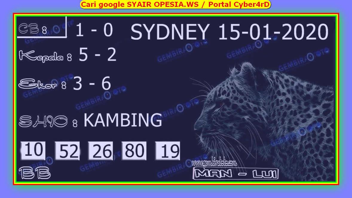 Kode syair Sydney Rabu 15 Januari 2020 98