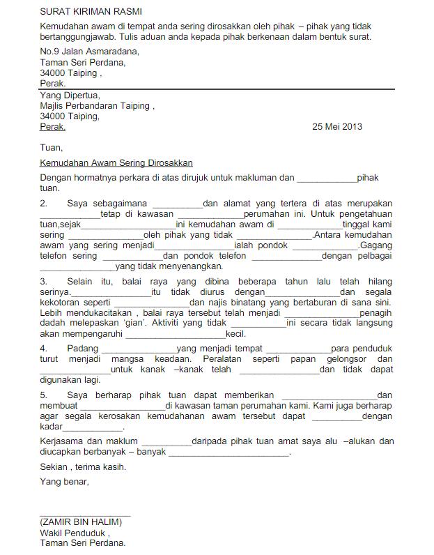 Contoh Karangan Surat Kiriman Tidak Rasmi Tingkatan 2