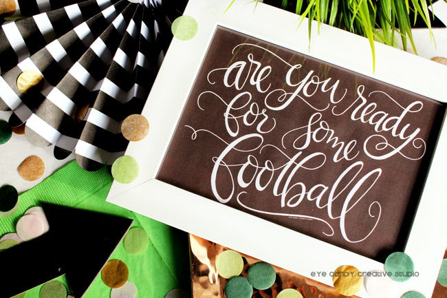hand lettered, fpotball party, football table decor, confetti, lettering