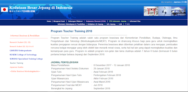 Program Teacher Training Ke Jepang Tahun 2018