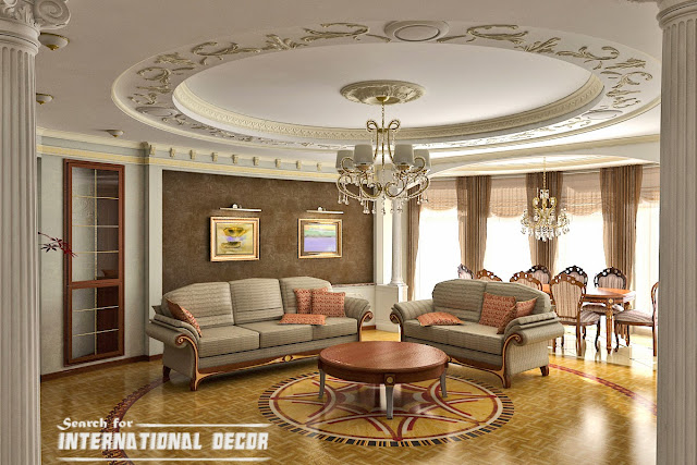 Classic Interior Living Room Design False Ceiling