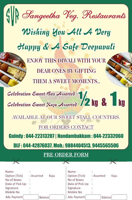 DIWALI OFFER ......@ SANGEETHA RESTAURANTS
