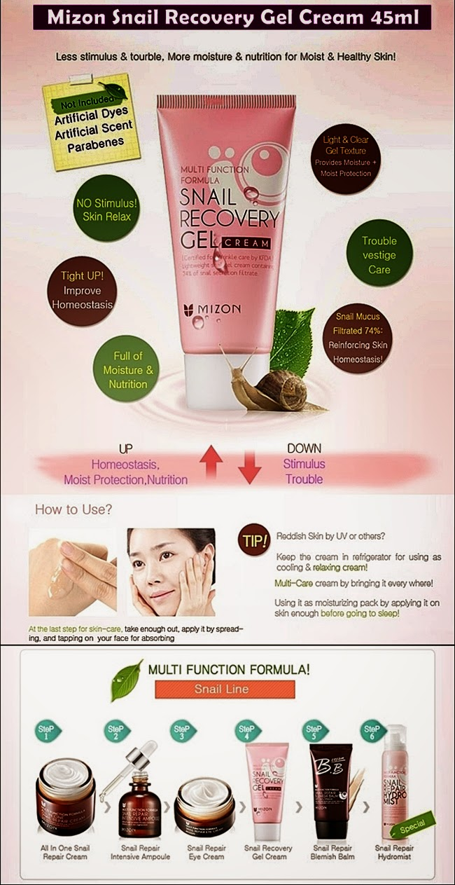 mizon, snail, gel, cream