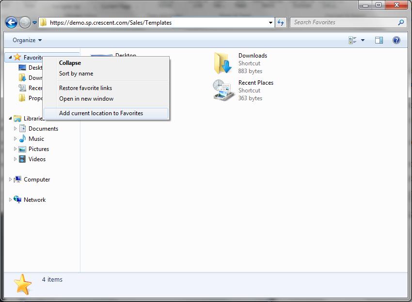 Add SharePoint folder to Favorites