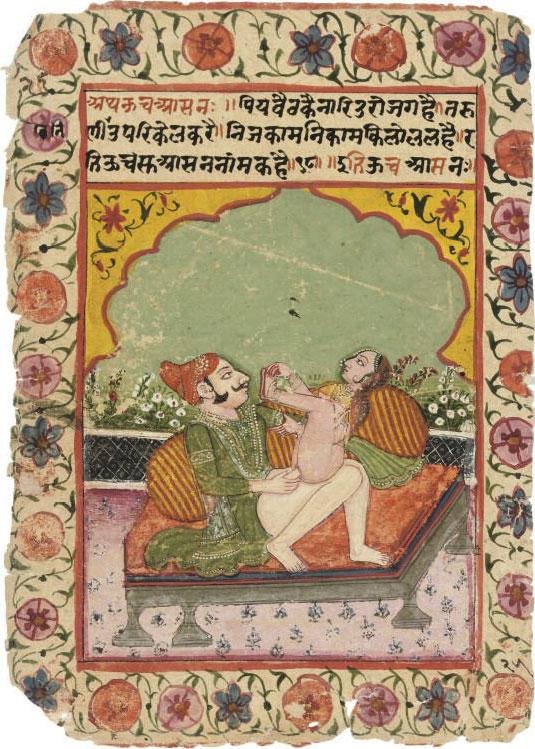 Couple in an Amourous Embrace - Rajput Painting, Mandi, Circa 1800