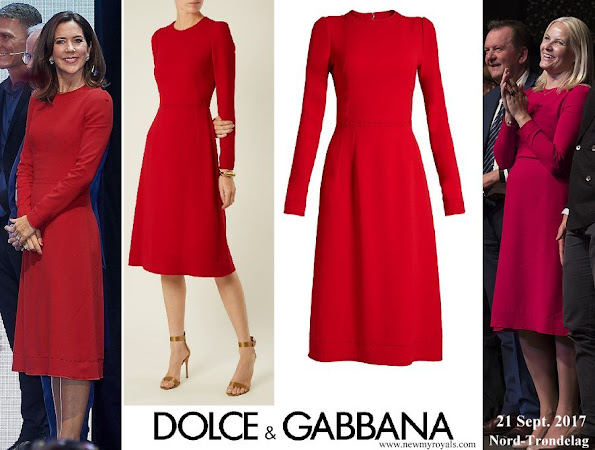 Crown Princess Mette Marit and Crown Princess Mary wore same Dolce & Gabbana Contrast stitch cady dress