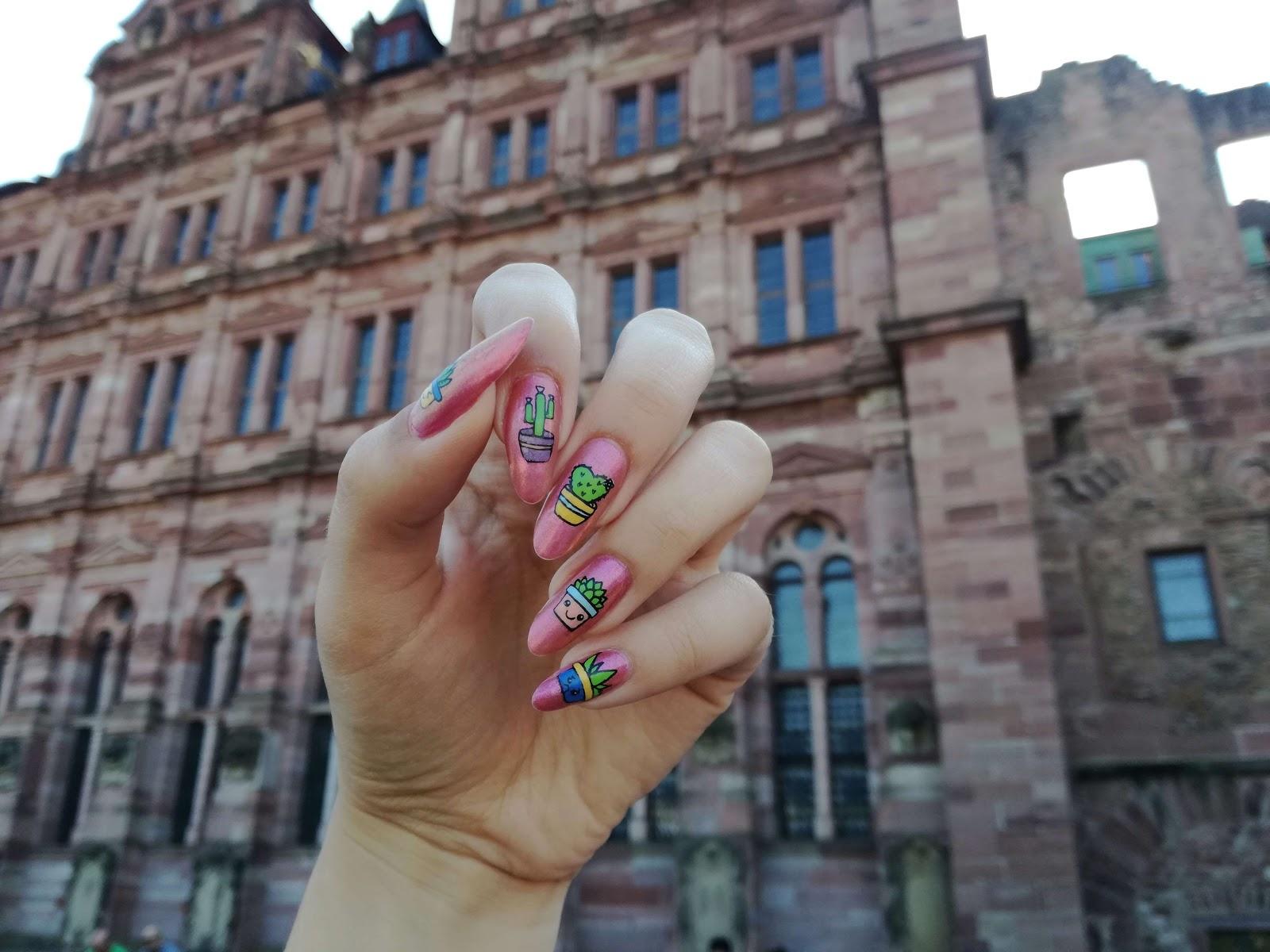 paznokcie w kaktusy i zamek w Heidelbergu