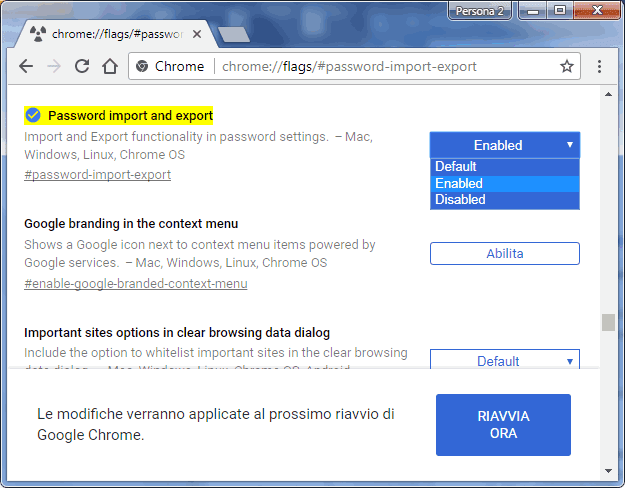 Chrome flags attivare funzione esportazione importazione password