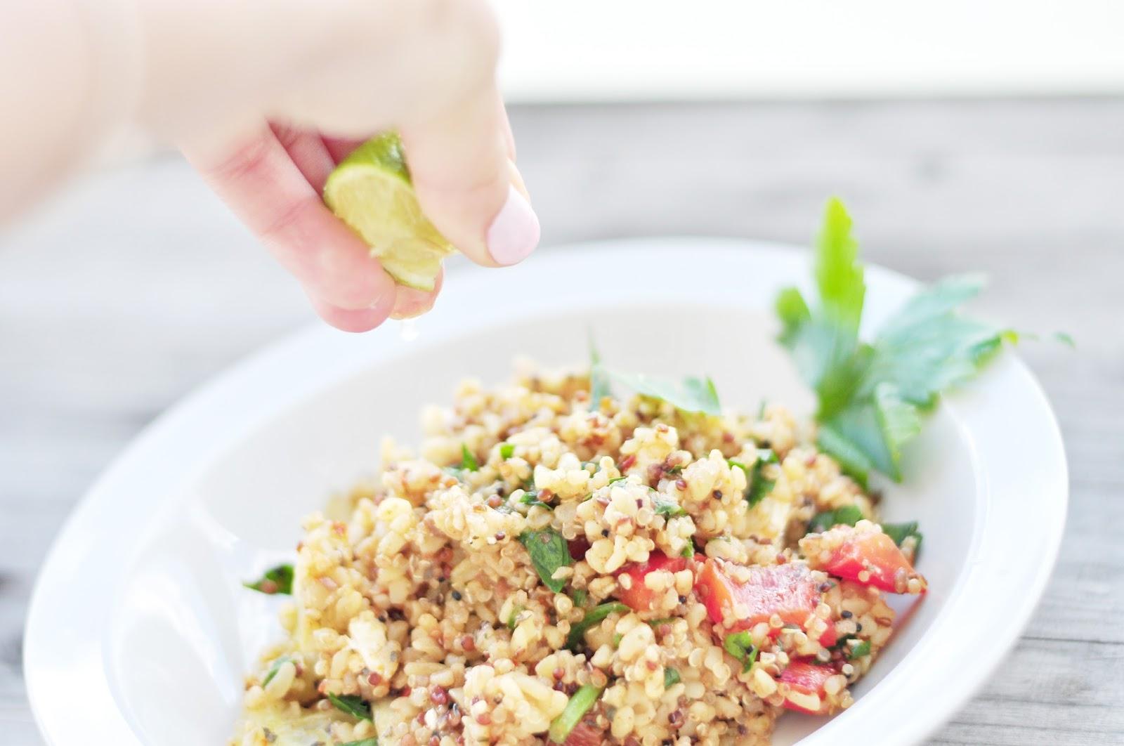 easy salad with bulgur and quinoa groats