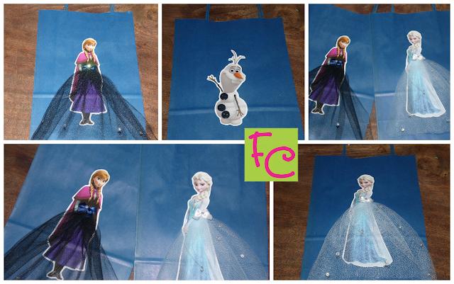 Sacolinhas - Olaf - Anna - Elsa - Tema Frozen