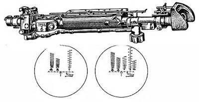 Телескопический шарнирный прицел ТШ2Б-22. Слева - поле зрения прицела ТШ2Б-22, справа - поле зрения прицела ТШ2Б-32П