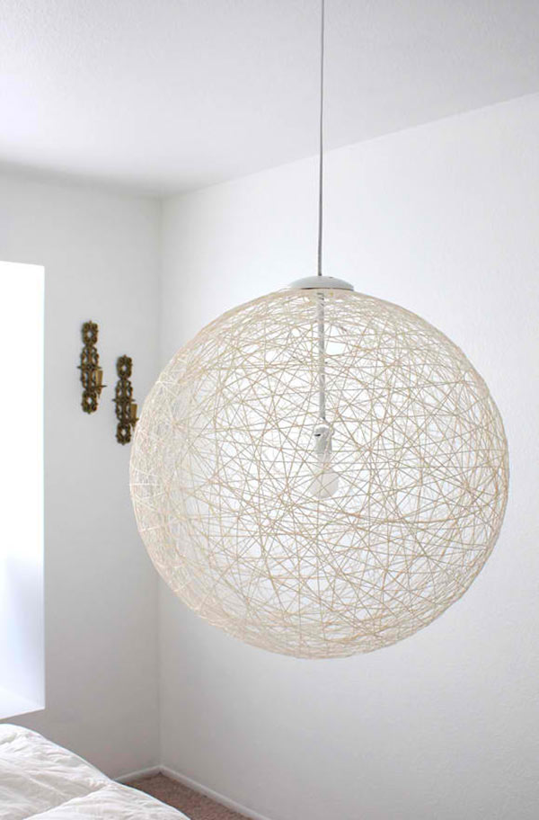 DIY Yarn Pendant Light