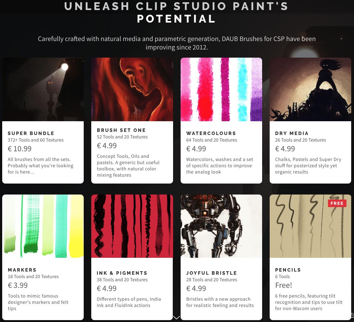 Daub Brushes for Clip Studio Paint Ex/Pro