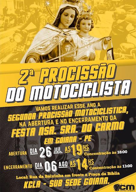 2º Procissão do Motociclista na Festa do Carmo em Goiana