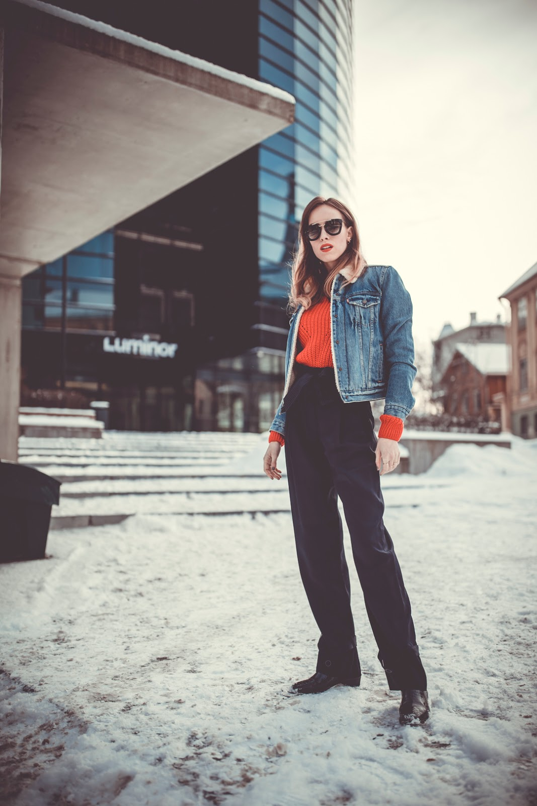 levis denim jacket over sweater outfit winter