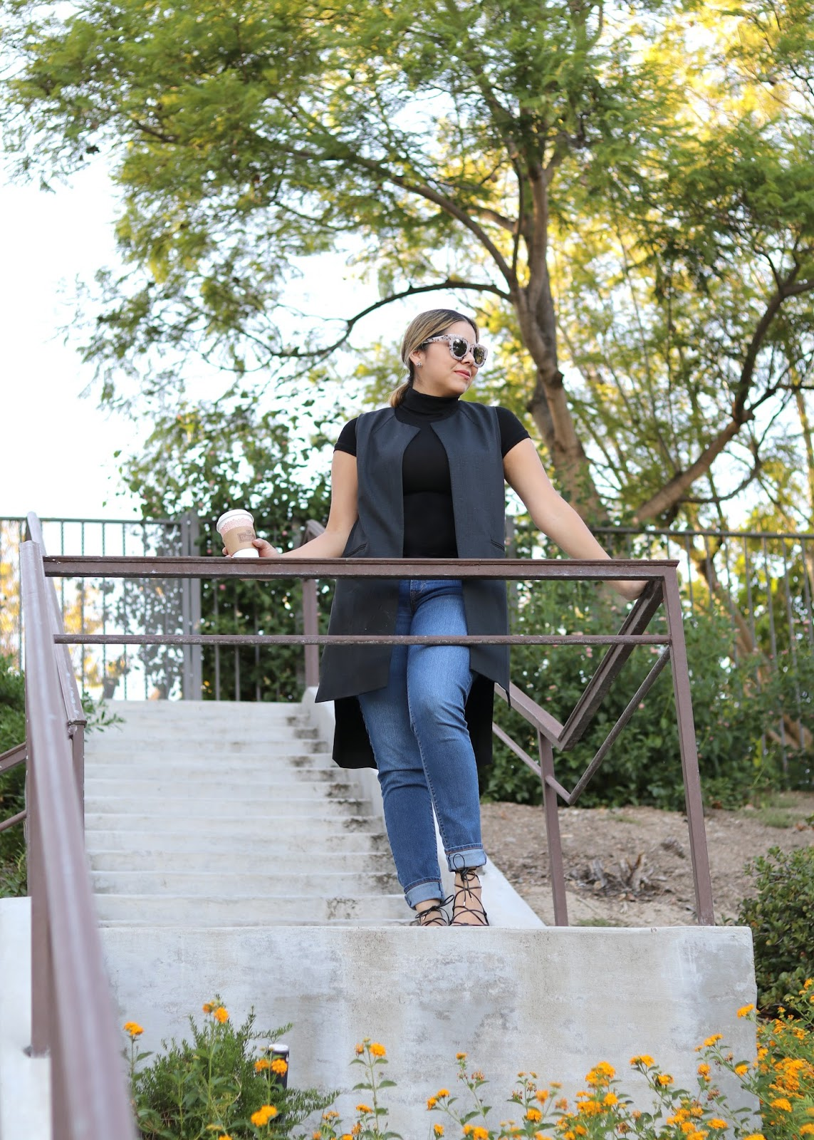 Sleek Coffee Date Outfit, San Diego Fashion Blogger, cabi drafting vest, longline vest outfit