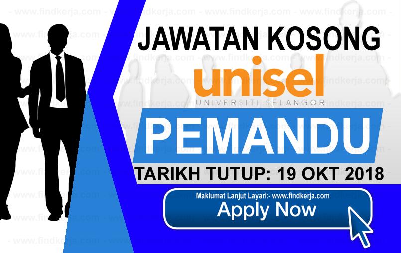 Jawatan Kerja Kosong UNISEL - Universiti Selangor logo www.ohjob.info www.findkerja.com oktober 2018