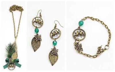 OI 1718 - Collar Pulsera Pendiente Pajaro mariposa