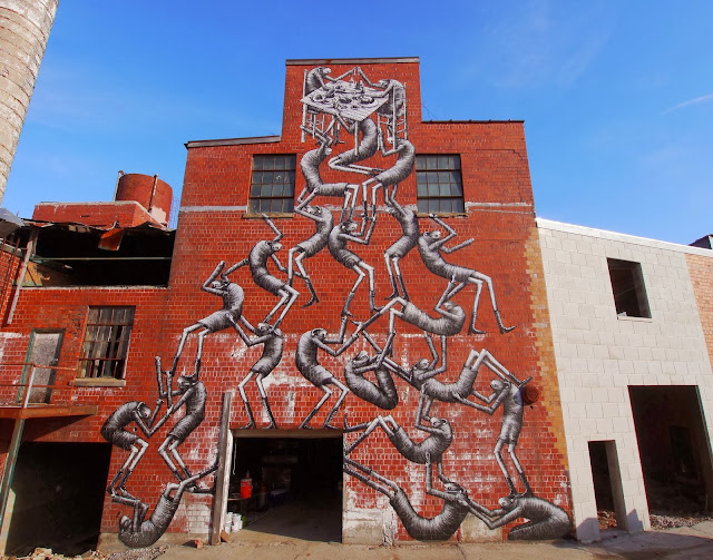 New Street Art Mural By Phlegm which was painted on the wall of an old Bourbon distillery in Lexington Kentucky. 1