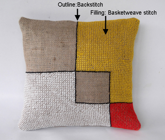 embroidered cushion cover, embroidered pillow, backstitch, backstitch example, basketweave stitch examples.