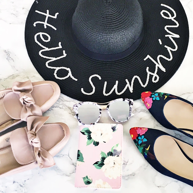 affordable fashion finds for spring hello sunshine straw hat blush bow mules ban.do passport floral denim flats guess marble statement sunglasses