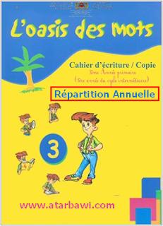 لتوزيع السنوي للغة الفرنسية L'oasis des mots المستوى الثالث ابتدائي