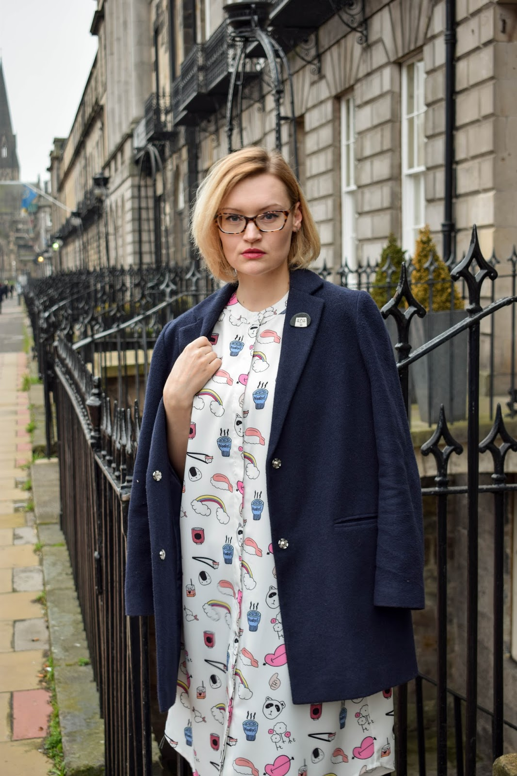 edinburgh street style with scottish fashion blogger wardrobe conversations wearing a the whitepepper sushi and noodle print shirt dress and jode pankhurst ugly girl brooch
