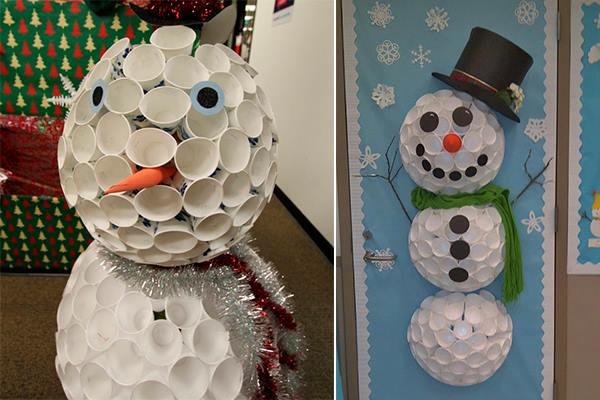 Miércoles Y Morticia Addams Muñeco De Nieve Con Vasos Plásticos