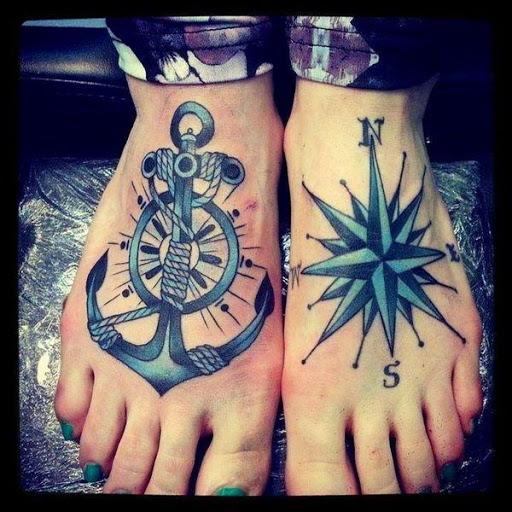 Ancora desenhos de tatuagens no pe com bussola