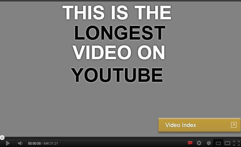 La plus longue vidéo sur Youtube dure 596.5 heures