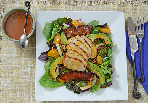 grilled salad recipe, sriracha vinaigrette recipe
