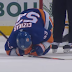 Casey Cizikas goes down as puck deflects into his groin