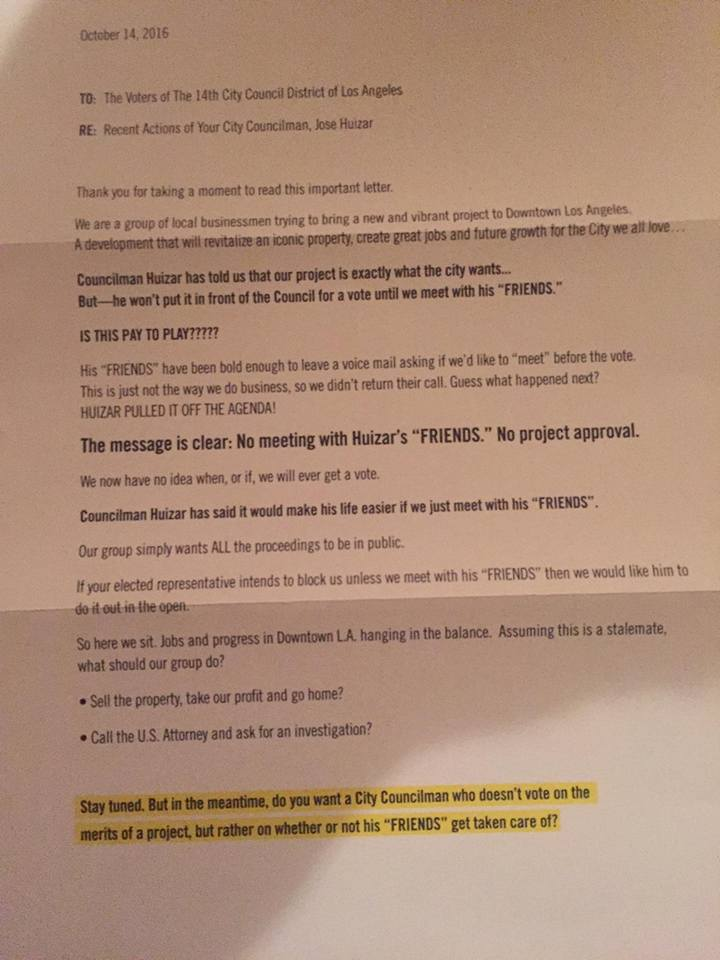 Anonymous Mailer To CD 14 Households Attacking Councilman Huizar And Friends For Pay Play Backroom Dealings On A Downtown Development Project