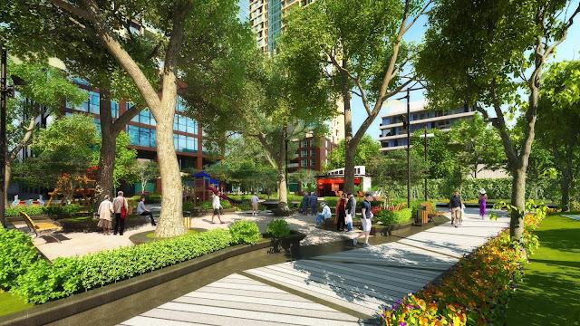 Khu vườn xanh cổ thụ dự án ECO LAKE VIEW
