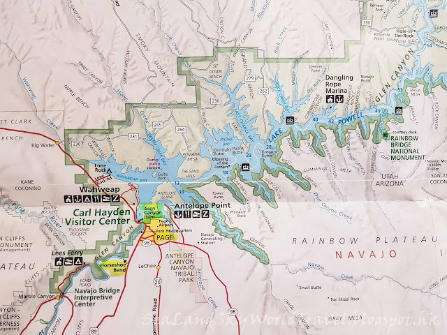包偉湖 Lake Powell, map 地圖