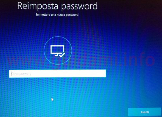 Windows 10 Reimpostazione password schermata Reimposta password
