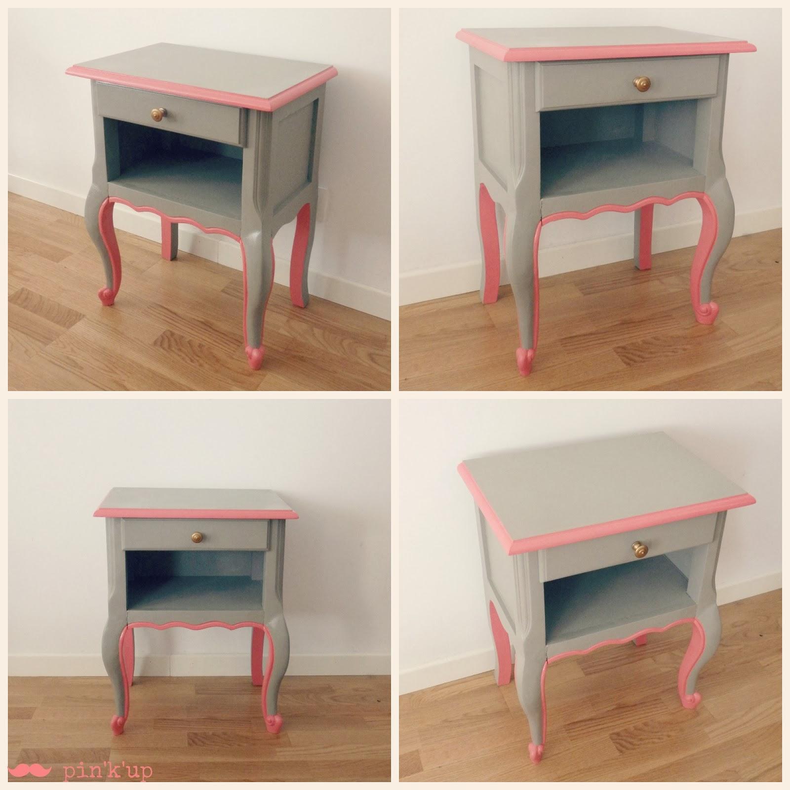 table chevet rose. Black Bedroom Furniture Sets. Home Design Ideas
