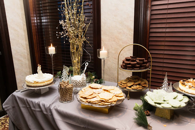 dessert display at wedding at italian american cultural center in Clinton township
