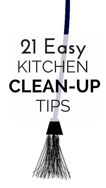Creating all those healthy meals can really create a kitchen mess! But, no more with these 21 tips and tricks to make kitchen clean-up go by faster, easier and a lot more fun!