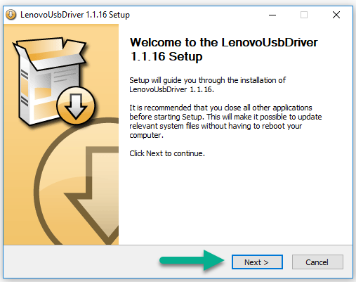 Install Lenovo USB Driver