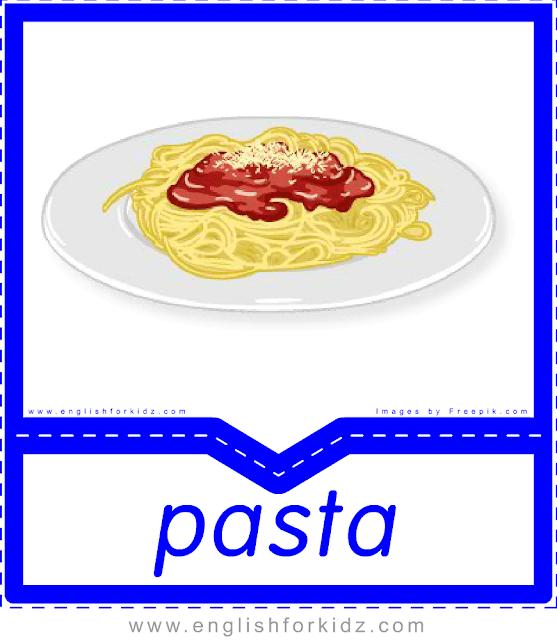 Pasta - English food flashcards for ESL students