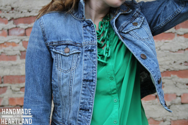 green on green outfit with denim jacket