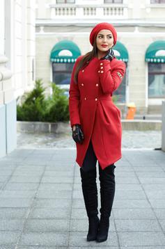 palton de iarna rosu elegant