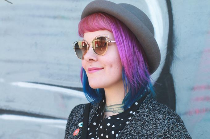 pink lipstick, purple hair, #shop #cbias