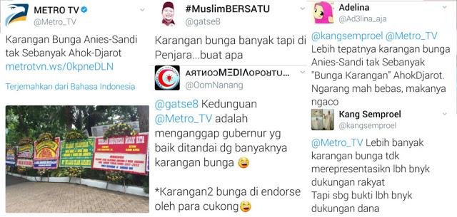 Telak! Ini Balasan Netizen Untuk Metro TV yang Nyinyiri Pelantikan Anies-Sandi
