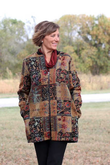 Style Maker Fabrics' Fall 2017 Style Tour - Patchwork Jacquard made into Vogue 9275