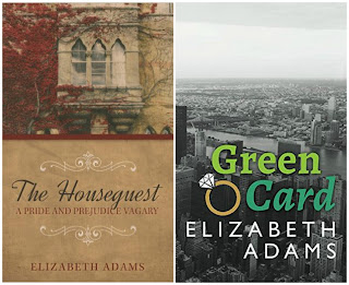 Book covers: The Houseguest and Green Card by Elizabeth Adams