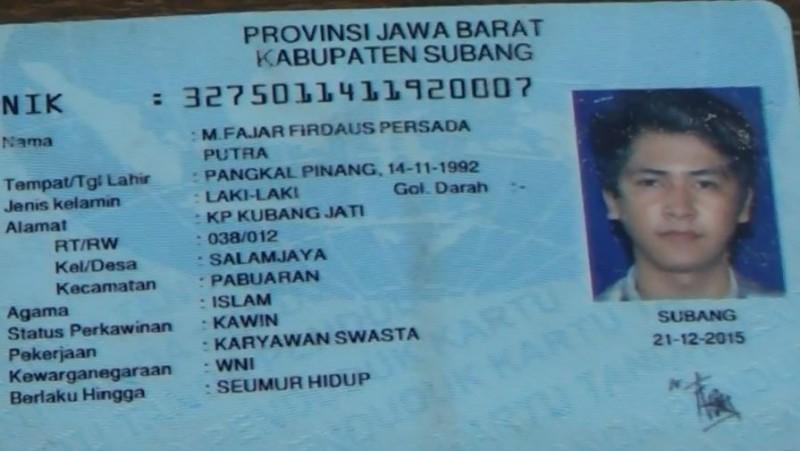 KTP milik Fajar Firdaus Persada Putra, pembunuh di hotel Cipulir