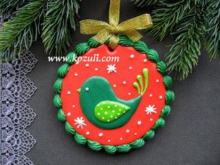 Новогоднее печенье с глазурью Рождественская птичка
