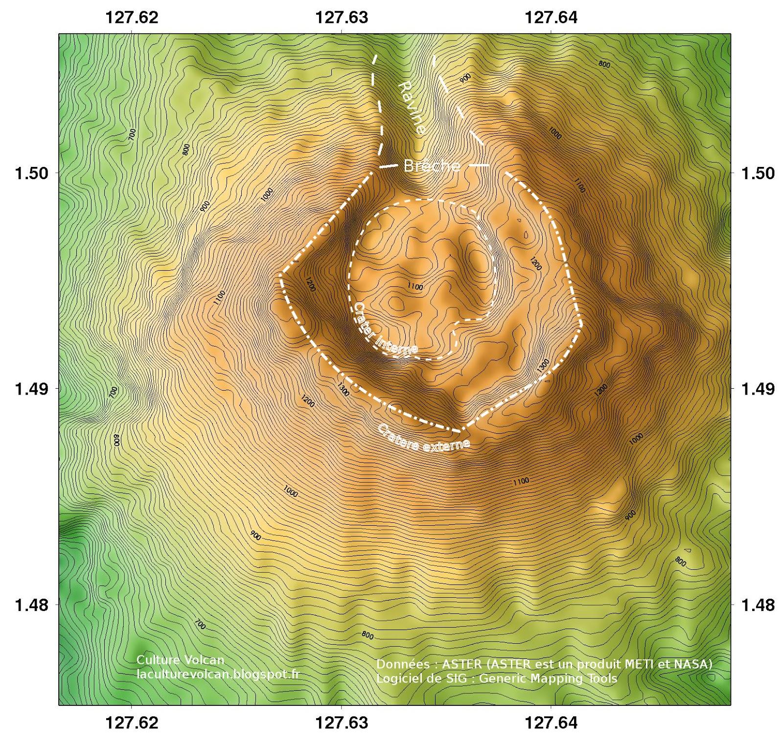 Topographie du cratère sommital du volcan Ibu